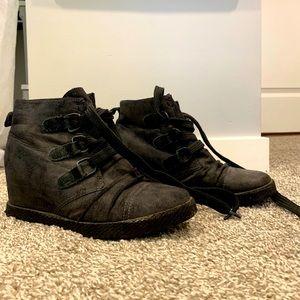 high heeled sneaker boots